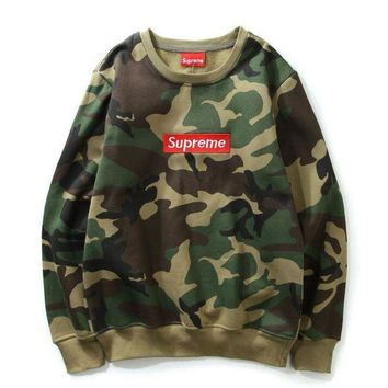 Supreme Letter embroidery camouflage cotton high quality men's wear round neck Sweatshirt