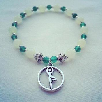 DCCK1IN yoga find balance grounding energy tree pose silver green new jade green onyx gemstone healing bracelet mindfulnessbracelet