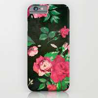 BLACK VINTAGE FLOWERS 2 - for iphone iPhone & iPod Case by Simone Morana Cyla