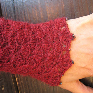 Wrists warmers victorian cuffs crocheted arms warmers knitted crochet wool lace steampunk manchettes crochet medieval fantasy