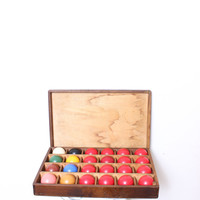 Vintage Set of Snooker Balls in Rustic Wooden Box Crate with Green Felt Bottom by Intrepid Treasures