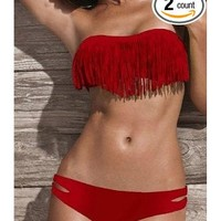 Pink Queen Women's Tassel Padded Fringe Bikini 2pcs Set Swimwear Swimsuit