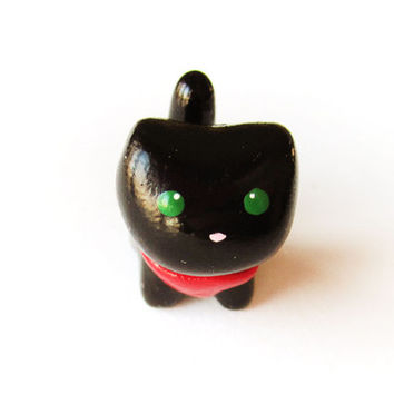 Black Cat Miniature Figure With Red Bandana