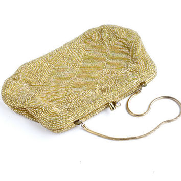 Vintage Glass Bead Evening Bag - Retro 1950s 1960s Intricately Beaded Purse / Small Formal Accessory