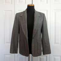 Vintage 80s Herringbone Blazer Russ Petites Lined Wool Blazer, Union Made in USA, Black and Grey Tweed Jacket Womens 10