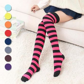 Stripes Blue Red Pink Grey Black Over The Knee Thigh Socks - Women High Socks