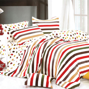 Rainbow Dots & Stripe Luxury 5PC Bedding Set Combo 300GSM in Twin Size