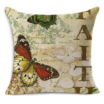45x45cm Hot Selling 2016 New 3D Butterfly Linen decorative throw Pillow Birds For Decoration Vintage MYJ-1601