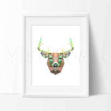 Geometric Poly Deer Stag Head