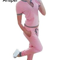 2017 Brand Ansper Tracksuit Women Track Suit Slim Fit Set 2 Two Piece Velour Set sporting suit top and Pants