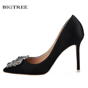 BIGTREE Spring Women Pumps Elegant Buckle Rhinestone Silk Satin High Heels Shoes Crystal Heeled Sexy Pointed Single Shoes G516-5