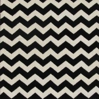 ADC Rugs Chevron Zig Zag Handamde Wool Area Rug, 8-Feet by 10-Feet, Black and Ivory
