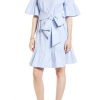 1901 Ruffle & Bow Dress Pink/White Blue Oxford $99