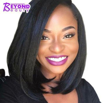 LMFOK5 Beyond Beauty Straight Bob Cuts Black Wig for Women With Side Part