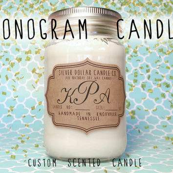 Monogram Candle,Personalized Candles,Custom candle,16oz Scented Candle,Gift For Bride,mason jar candle,wedding gift,Gift for women,unique