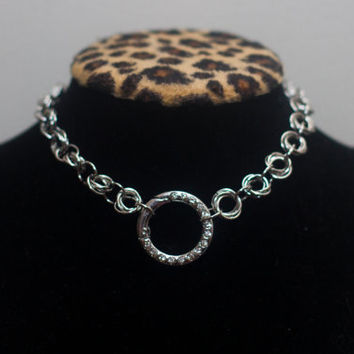 Silver Chainmaille O-Ring Necklace Collar, BDSM Collar, Submissive Collar, Slave Collar, Sub, Chainmail