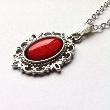 RUBY RED CAMEO Necklace - Hand Painted Vintage Cameo Pendant Necklace - Retro style silver tone necklace - Gift for her