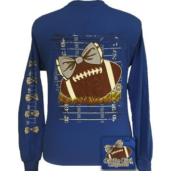 Girlie Girl Originals Preppy Football Team Big Bow Long Sleeve Blue T Shirt
