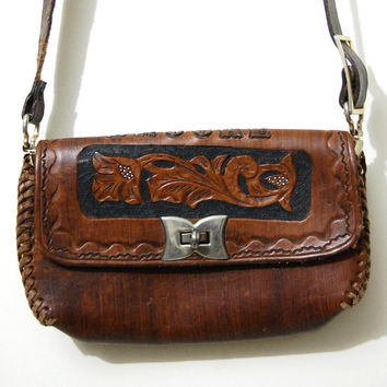 70s Vintage TOOLED Leather Bag 'BROOKE' Name Monogram Dark Tan Brown Braided Woven Cross-body Long strap Purse Handbag Hippie Folk 1970s vtg