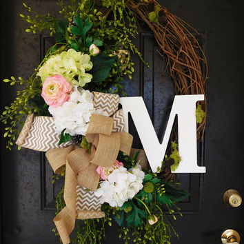 Hydrangeas & Ranunculus Grapevine Wreath with Burlap. Year Round Wreath. Spring Wreath. Summer Wreath. Monogram Wreath. Door Wreath.