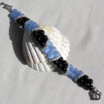 "Black Onyx & Blue Cats Eye Crystal Gemstone Bracelet - ""Mystique"""