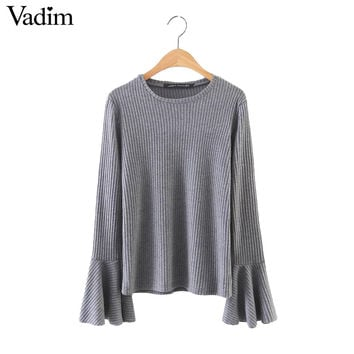 Women elegant bell flare sleeve knitted basic tops elastic shirts long sleeve o neck ladies casual brand gray tops blusas