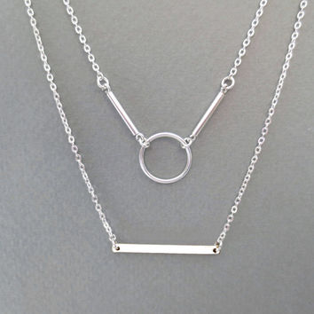 Double, lared, karma, and, bar, necklace, sterling, silver, multi, strand, necklace, multi, layered, necklace, geo, necklace
