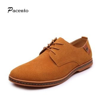 PACENTO Luxury Brand Mens Shoes Fashion Men Lace-up Casual Loafers Suede Leather Flats Oxford big Size 11 12 Chaussure Homme