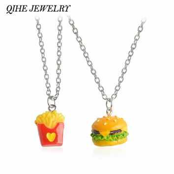QIHE JEWELRY 2pcs/set Fast Food Whimsical Miniature Cheeseburger Fries French Fries Burger Necklace Set Best Friends Jewelry