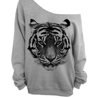 Tiger - Gray Slouchy Oversized Sweatshirt