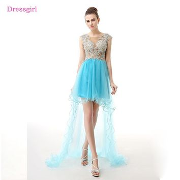 Turquoise 2018 Prom Dresses A-line Cap Sleeves Tulle Lace Beaded Short Front Long Back Prom Gown Evening Dresses Robe De Soiree