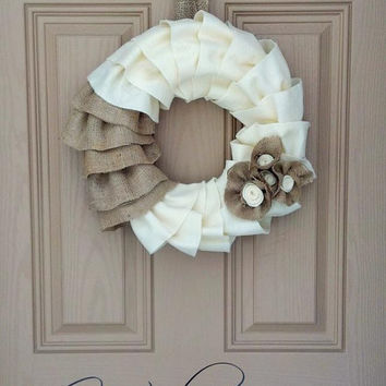 Ruffle Burlap & Felt Wreath with Flowers. Perfect for Easter, Spring, Mother's Day, Primitive, Rustic, Shabby, Wedding, Front Door, Mantle