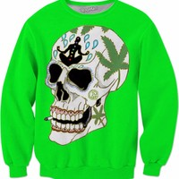 Enlightenment Skull Neon Green Sweatshirt