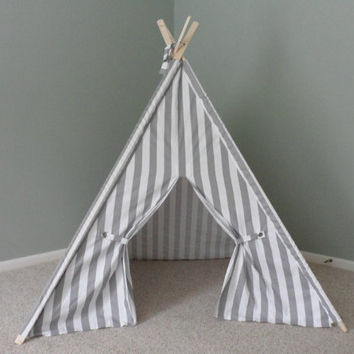 Gray and White Teepee Tent Vertical Stripe Play Photo Prop Made to Order