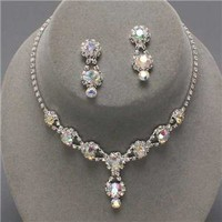 Bridesmaid Formal Bridal Clear Crystal Elegant Costume Jewelry Necklace Sets