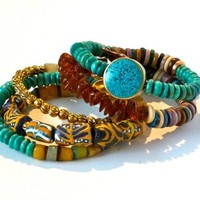 Tribal -  High Fashion Pair -  2 Statement Bracelets - Turquoise - Afr