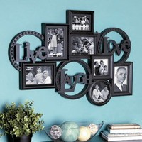 "LIVE LAUGH LOVE MOUNTED WALL PHOTO COLLAGE - Crafted Design Bring Your Family Photos Together In One Elegant Collection (Black) Comes Ready To Hang. 20"" x 28-1/2""."