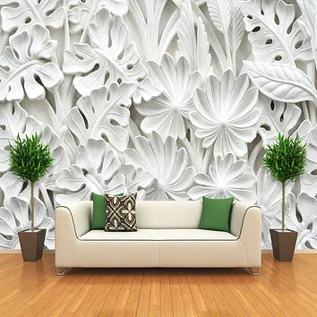 3D Stereoscopic Leaf Pattern Plaster Relief Mural Wall Paper Living Room TV Background Wall Painting Wallpaper Home Decoration