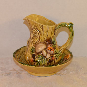 Lefton Mushroom Ceramic Pitcher Bowl 6469 Vintage Merry Mushro