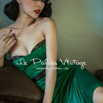 FREE SHIPPING Le Palais Vintage Retro elegant and sexy lace corset style emerald Satin bandeau dress/bodycon dress