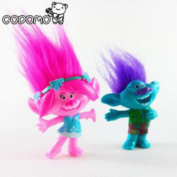 New 2Pcs/set DreamWorks Trolls PVC Action Figures Trolls Doll Toys For Kids Christmas Gift Party Supplies Dolls Anime Figure