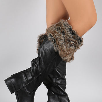 Bamboo Faux Fur Cuff Round Toe Riding Knee High Boots