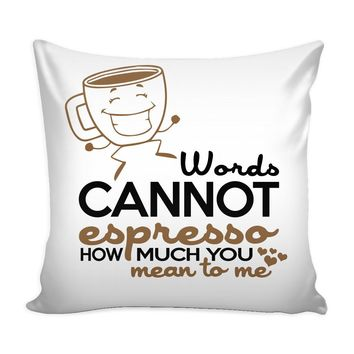 Funny Coffee Graphic Pillow Cover Words Cannot Espresso How Much You