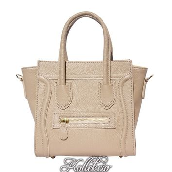 Taupe Genuine Italian Leather Handbag with Long Shoulder Strap