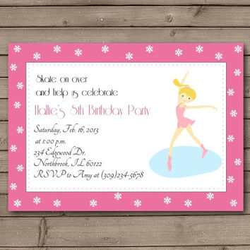 Pink Ice Skating Party Invitations: Blonde or Brunette Figure Skater