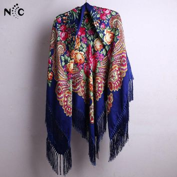 140*140cm With Tassel Russian Style Ethic Flower Printing Square Scarf Shawl Long Tassel Oversized Floral Bandana Wrap Cape