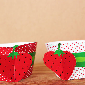 Printable 3D Strawberry Theme Cupcake Wrapper and Topper Set in red and green polka dot patterns INSTANT DOWNLOAD