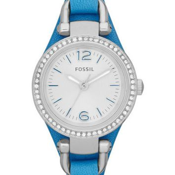 FOSSIL® Blue Leather Strap Ladies Watch
