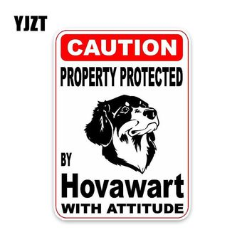 YJZT 10*14.2CM Property Protected By Hovawart Dog Hipster Cartoon Animal PVC Car Sticker  C1-4552
