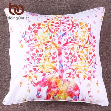 BeddingOutlet Elephant Mandala Cushion Cover Ethnic Indian Bohemian Pillow Case Microfiber Soft Boho Sofa Cover 45x45cm 70x70cm